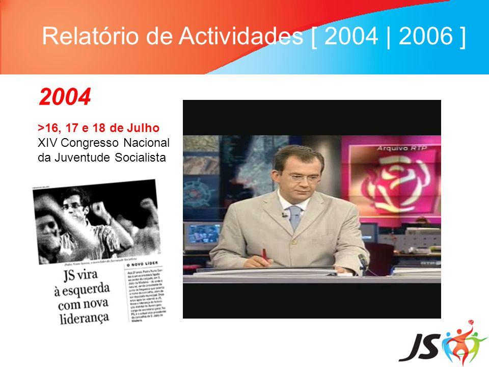 Relatório de Actividades [ 2004   2006 ] 2004 >16, 17 e 18 de Julho XIV Congresso Nacional da Juventude Socialista