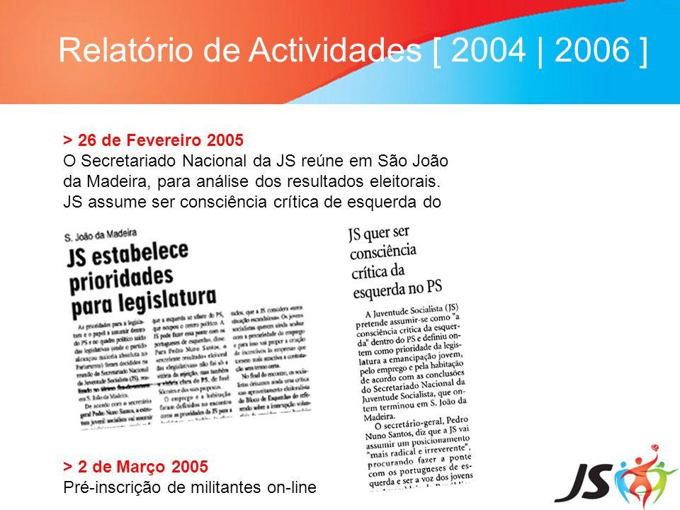 Relatório de Actividades [ 2004 | 2006 ] > 26 de Fevereiro 2005 O Secretariado Nacional da JS reúne em São João da Madeira, para análise dos resultado
