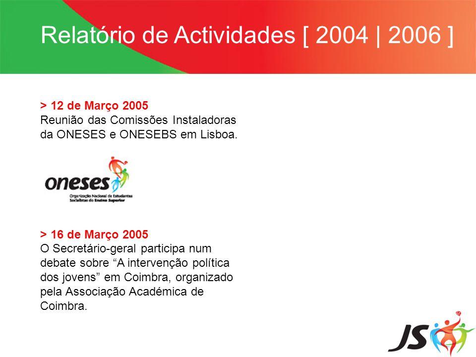 Relatório de Actividades [ 2004 | 2006 ] > 12 de Março 2005 Reunião das Comissões Instaladoras da ONESES e ONESEBS em Lisboa. > 16 de Março 2005 O Sec