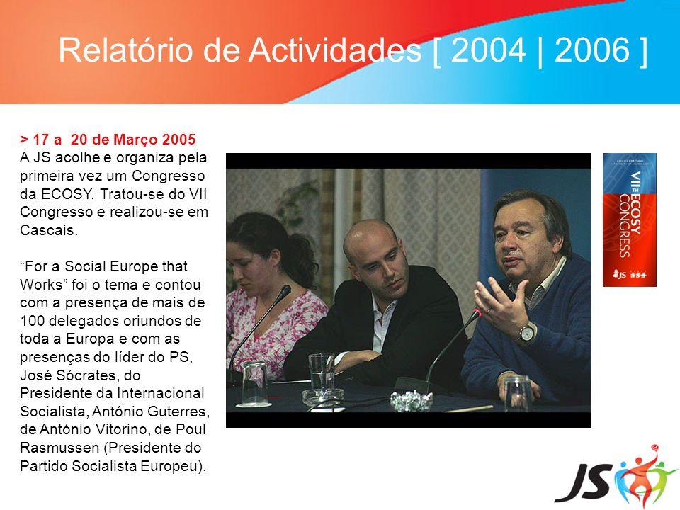 Relatório de Actividades [ 2004   2006 ] > 17 a 20 de Março 2005 A JS acolhe e organiza pela primeira vez um Congresso da ECOSY. Tratou-se do VII Cong