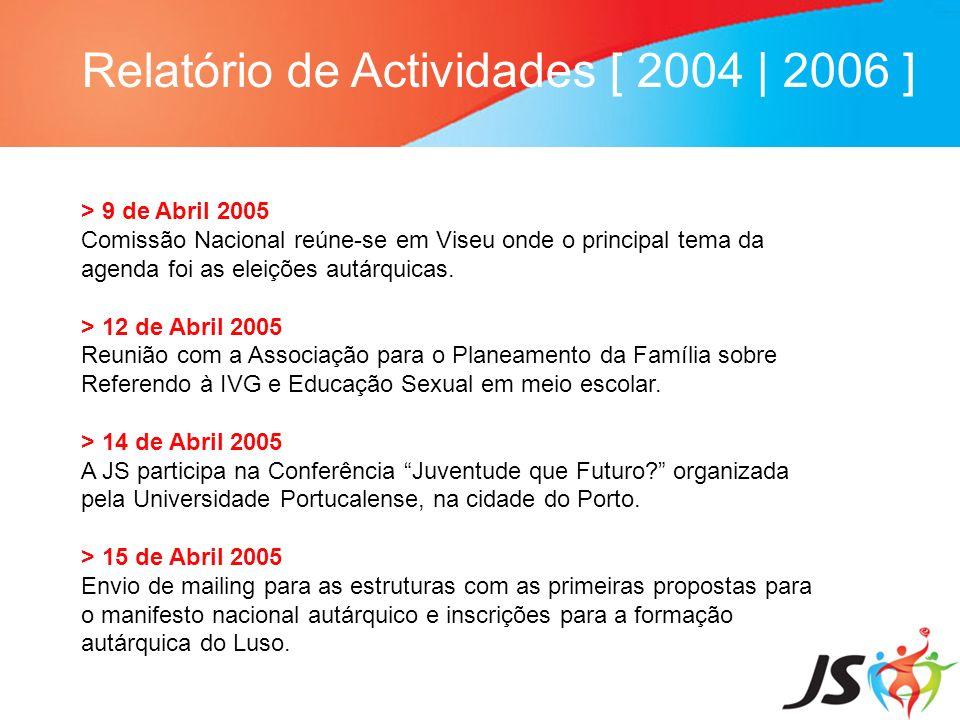 Relatório de Actividades [ 2004   2006 ] > 9 de Abril 2005 Comissão Nacional reúne-se em Viseu onde o principal tema da agenda foi as eleições autárqu