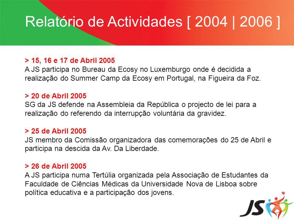 Relatório de Actividades [ 2004   2006 ] > 15, 16 e 17 de Abril 2005 A JS participa no Bureau da Ecosy no Luxemburgo onde é decidida a realização do S