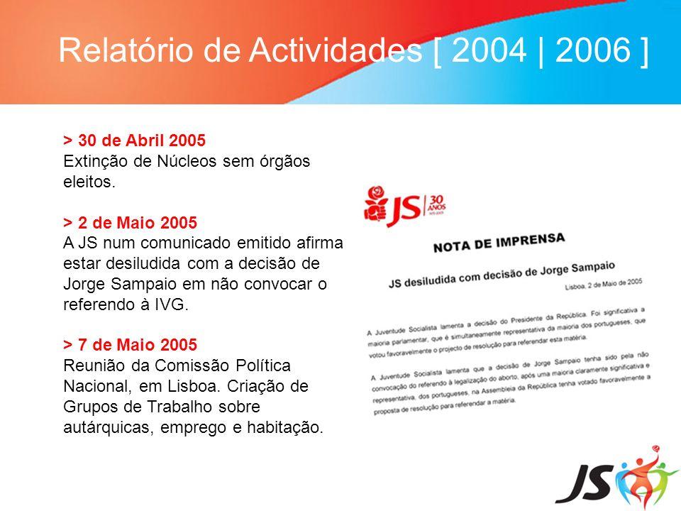 Relatório de Actividades [ 2004 | 2006 ] > 30 de Abril 2005 Extinção de Núcleos sem órgãos eleitos. > 2 de Maio 2005 A JS num comunicado emitido afirm