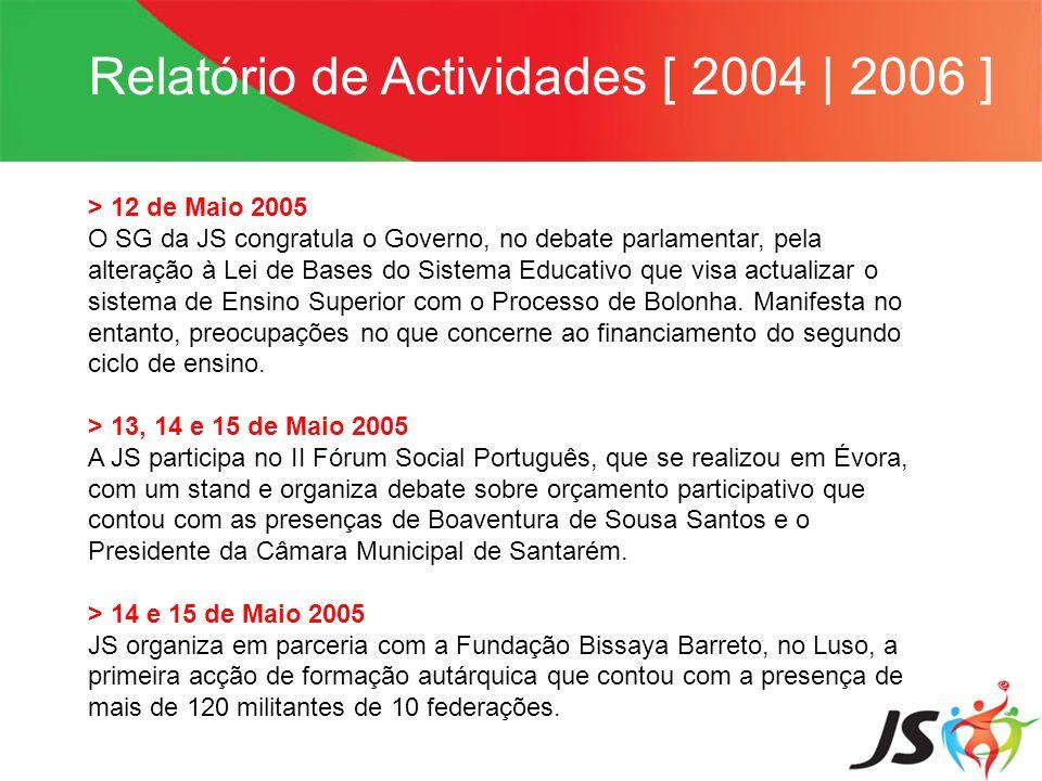 Relatório de Actividades [ 2004 | 2006 ] > 12 de Maio 2005 O SG da JS congratula o Governo, no debate parlamentar, pela alteração à Lei de Bases do Si