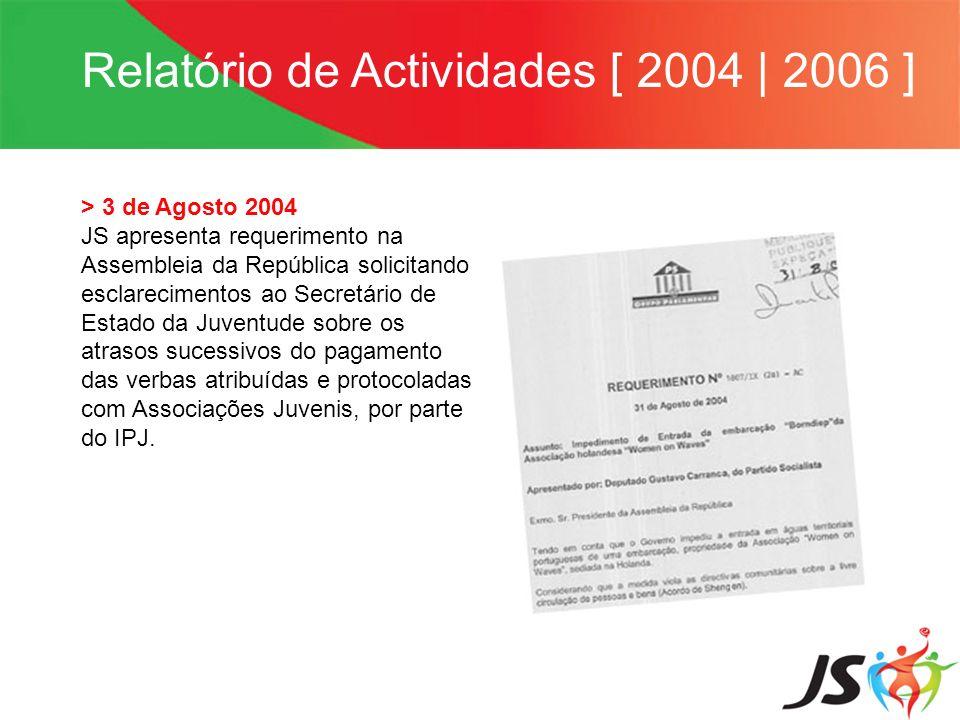 Relatório de Actividades [ 2004 | 2006 ] > 3 de Agosto 2004 JS apresenta requerimento na Assembleia da República solicitando esclarecimentos ao Secret