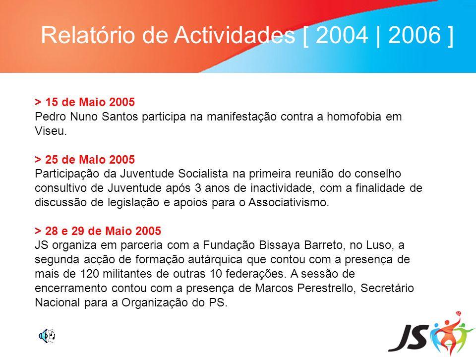 Relatório de Actividades [ 2004 | 2006 ] > 15 de Maio 2005 Pedro Nuno Santos participa na manifestação contra a homofobia em Viseu. > 25 de Maio 2005