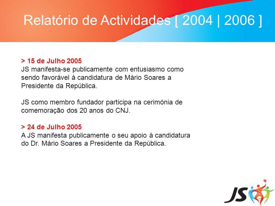 Relatório de Actividades [ 2004 | 2006 ] > 15 de Julho 2005 JS manifesta-se publicamente com entusiasmo como sendo favorável à candidatura de Mário So