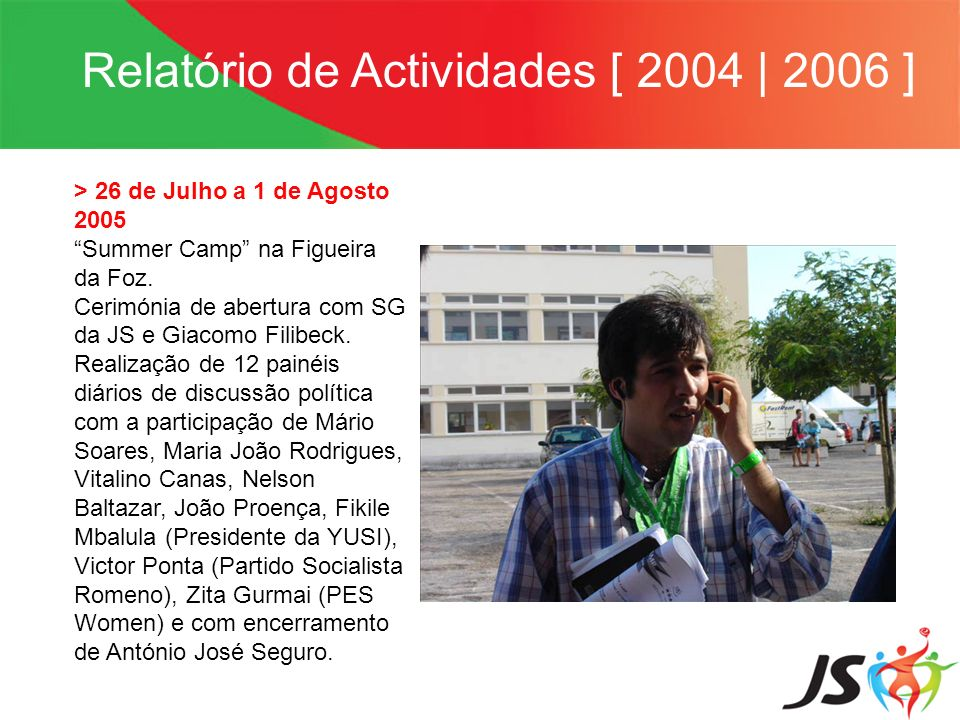 Relatório de Actividades [ 2004 | 2006 ] > 26 de Julho a 1 de Agosto 2005 Summer Camp na Figueira da Foz. Cerimónia de abertura com SG da JS e Giacomo