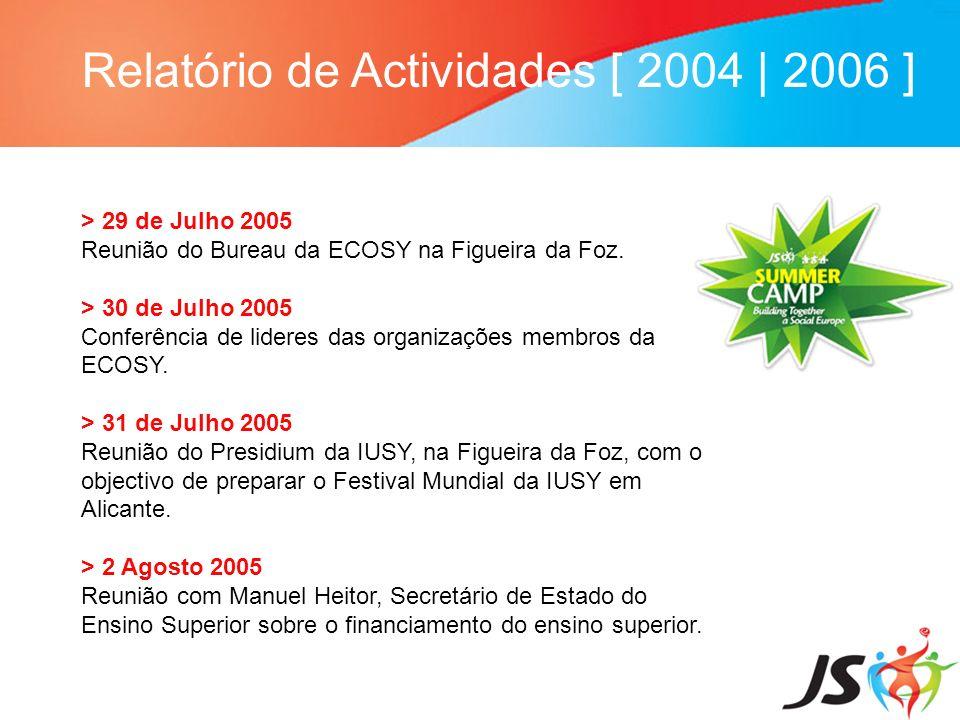 Relatório de Actividades [ 2004 | 2006 ] > 29 de Julho 2005 Reunião do Bureau da ECOSY na Figueira da Foz. > 30 de Julho 2005 Conferência de lideres d