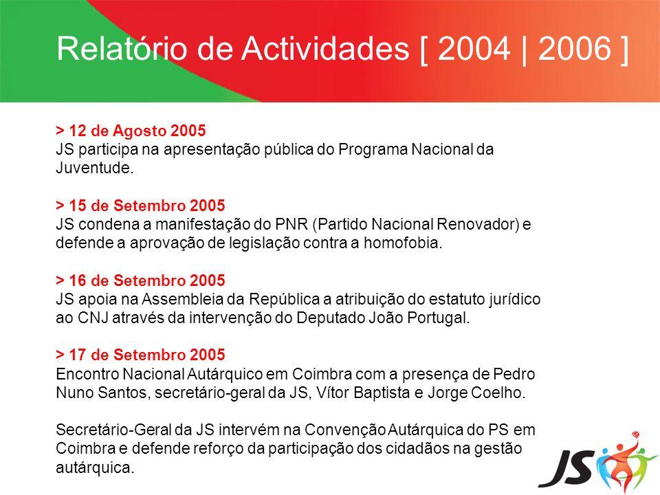 Relatório de Actividades [ 2004   2006 ] > 12 de Agosto 2005 JS participa na apresentação pública do Programa Nacional da Juventude. > 15 de Setembro