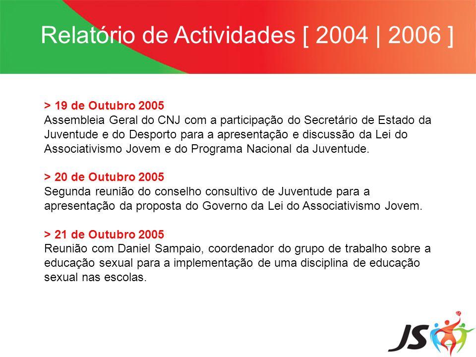 Relatório de Actividades [ 2004   2006 ] > 19 de Outubro 2005 Assembleia Geral do CNJ com a participação do Secretário de Estado da Juventude e do Des