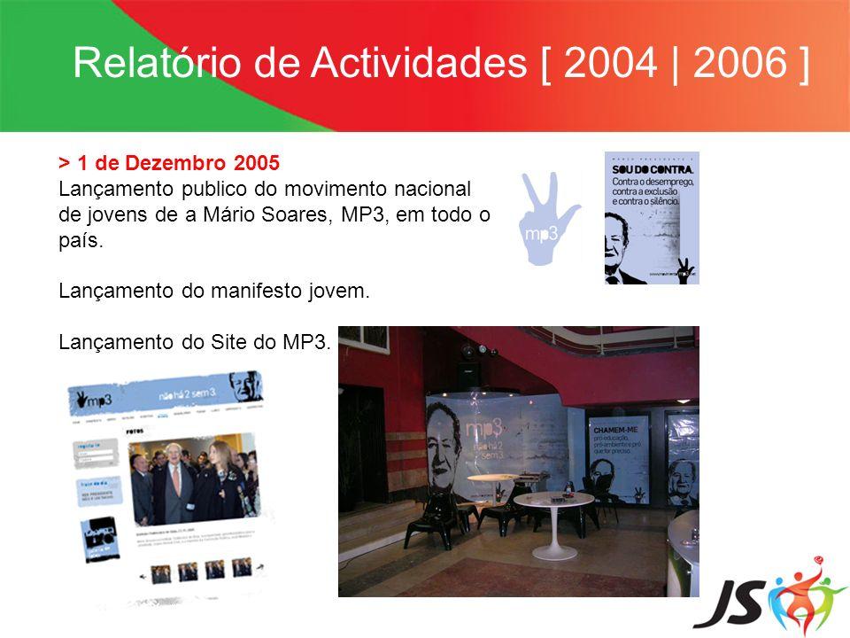 Relatório de Actividades [ 2004   2006 ] > 1 de Dezembro 2005 Lançamento publico do movimento nacional de jovens de a Mário Soares, MP3, em todo o paí