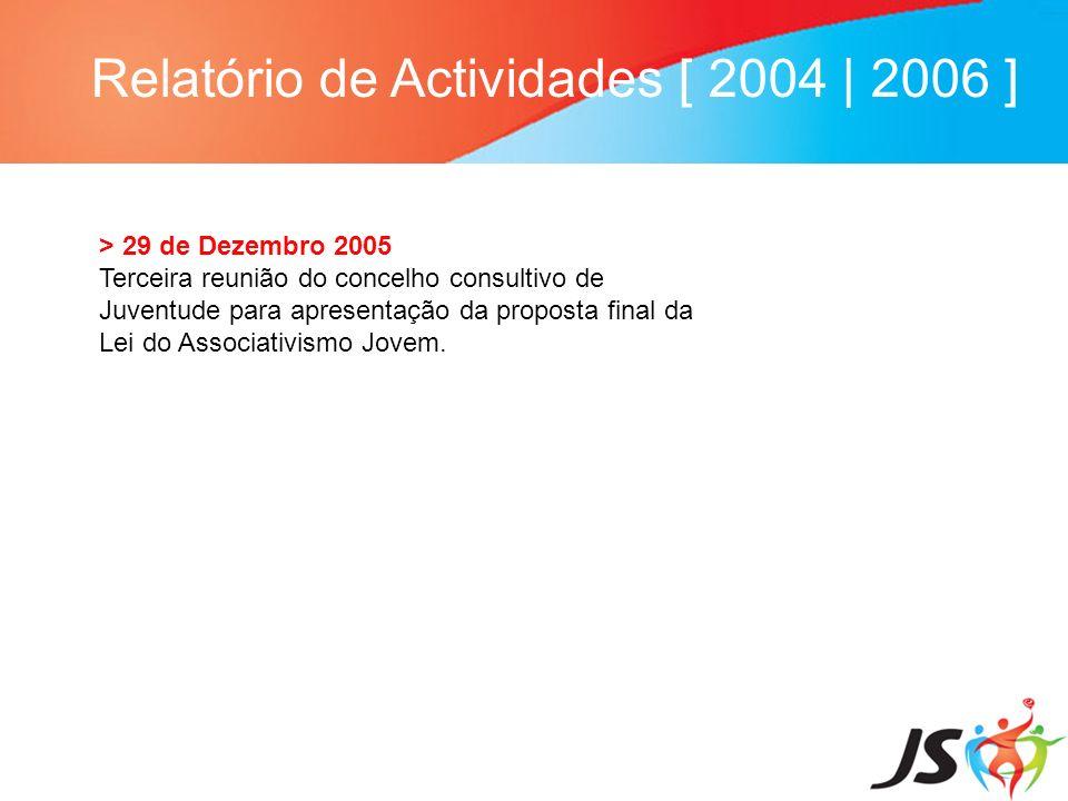 Relatório de Actividades [ 2004 | 2006 ] > 29 de Dezembro 2005 Terceira reunião do concelho consultivo de Juventude para apresentação da proposta fina