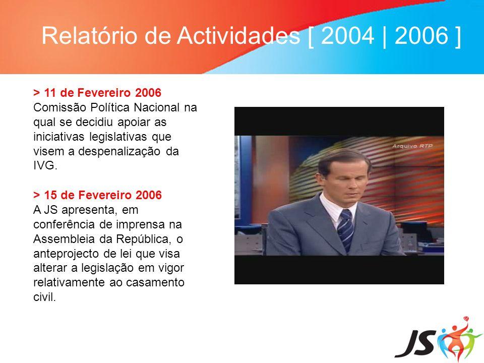 Relatório de Actividades [ 2004   2006 ] > 11 de Fevereiro 2006 Comissão Política Nacional na qual se decidiu apoiar as iniciativas legislativas que v