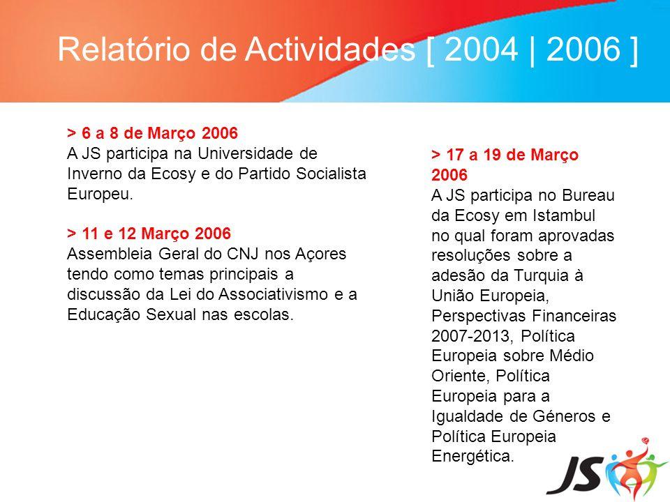 Relatório de Actividades [ 2004 | 2006 ] > 6 a 8 de Março 2006 A JS participa na Universidade de Inverno da Ecosy e do Partido Socialista Europeu. > 1