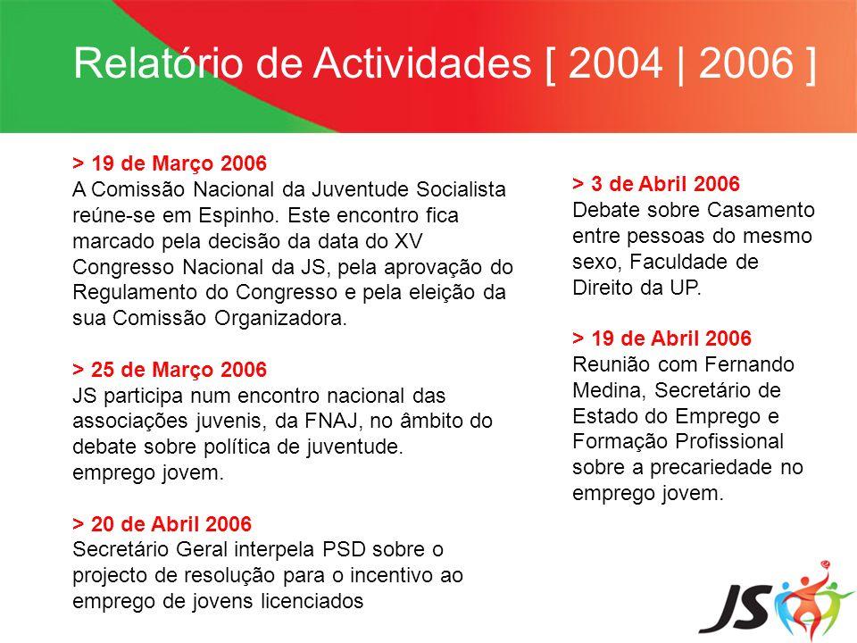Relatório de Actividades [ 2004 | 2006 ] > 19 de Março 2006 A Comissão Nacional da Juventude Socialista reúne-se em Espinho. Este encontro fica marcad