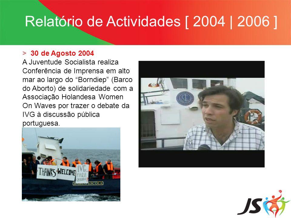 Relatório de Actividades [ 2004 | 2006 ] > 31 de Agosto 2004 JS apresenta requerimento na Assembleia da República solicitando explicações ao Ministro da Defesa e Assuntos do Mar, Paulo Portas pelo facto da embarcação Borndiep ser impedida de entrar em águas territoriais.