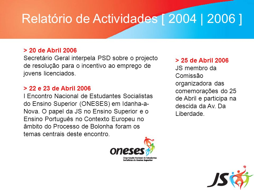 Relatório de Actividades [ 2004   2006 ] > 20 de Abril 2006 Secretário Geral interpela PSD sobre o projecto de resolução para o incentivo ao emprego d