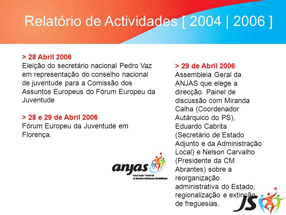 Relatório de Actividades [ 2004   2006 ] > 28 Abril 2006 Eleição do secretário nacional Pedro Vaz em representação do conselho nacional de juventude p