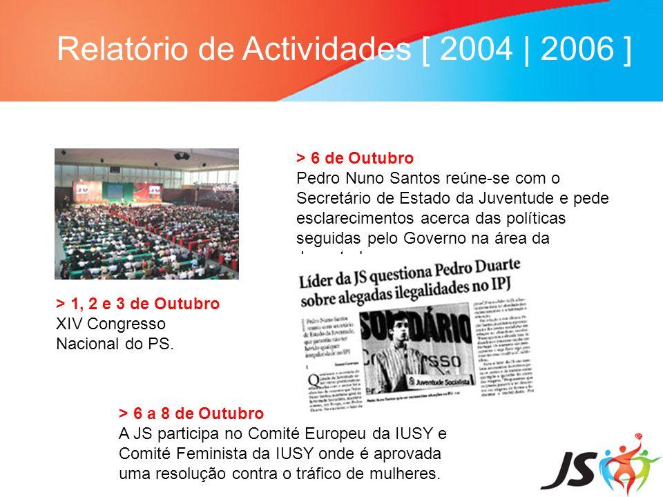 Relatório de Actividades [ 2004 | 2006 ] > 31 de Outubro 2005 JS pede esclarecimentos a Vieira da Silva, ministro da Solidariedade e Segurança Social, relativamente à alteração do sistema de atribuição do subsídio de desemprego a jovens.