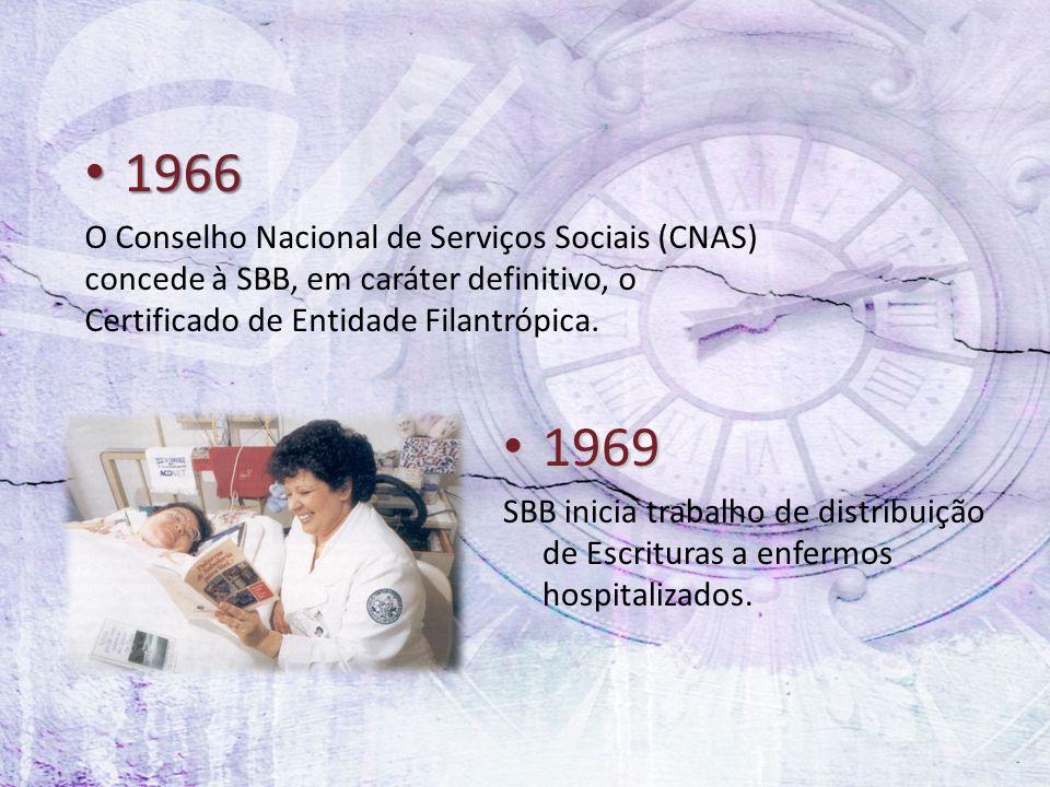 1966 1966 O Conselho Nacional de Serviços Sociais (CNAS) concede à SBB, em caráter definitivo, o Certificado de Entidade Filantrópica. 1969 1969 SBB i