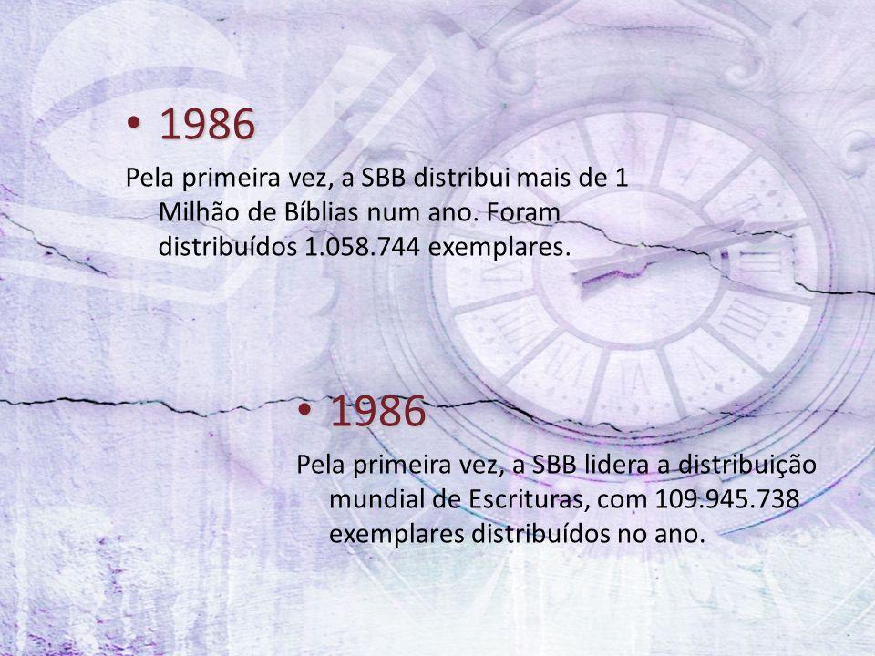 1986 1986 Pela primeira vez, a SBB distribui mais de 1 Milhão de Bíblias num ano. Foram distribuídos 1.058.744 exemplares. 1986 1986 Pela primeira vez