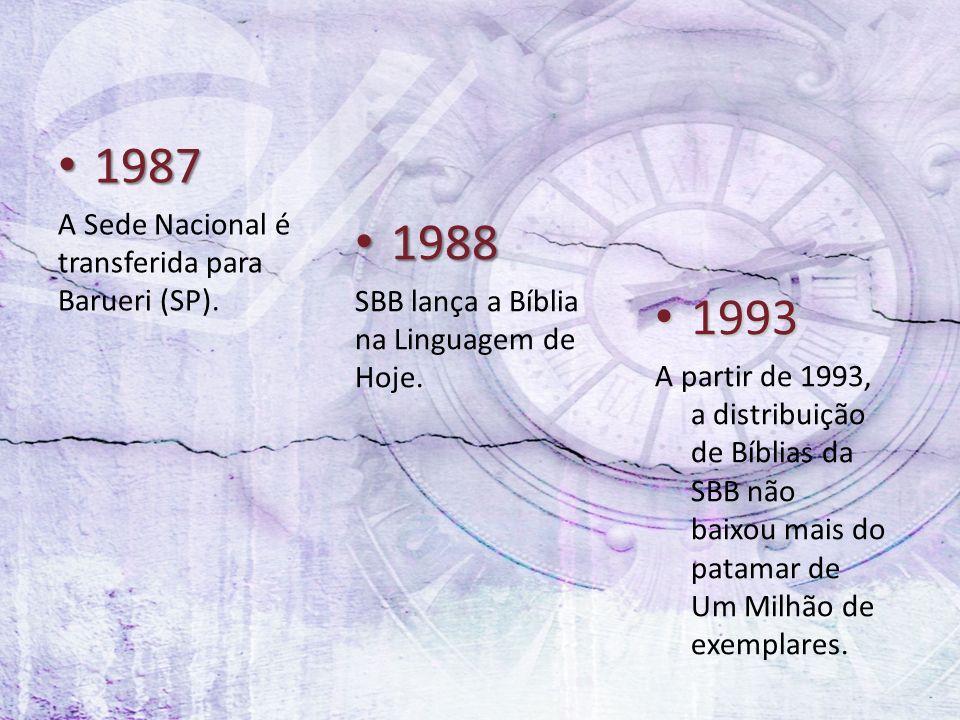 1987 1987 A Sede Nacional é transferida para Barueri (SP). 1988 1988 SBB lança a Bíblia na Linguagem de Hoje. 1993 1993 A partir de 1993, a distribuiç