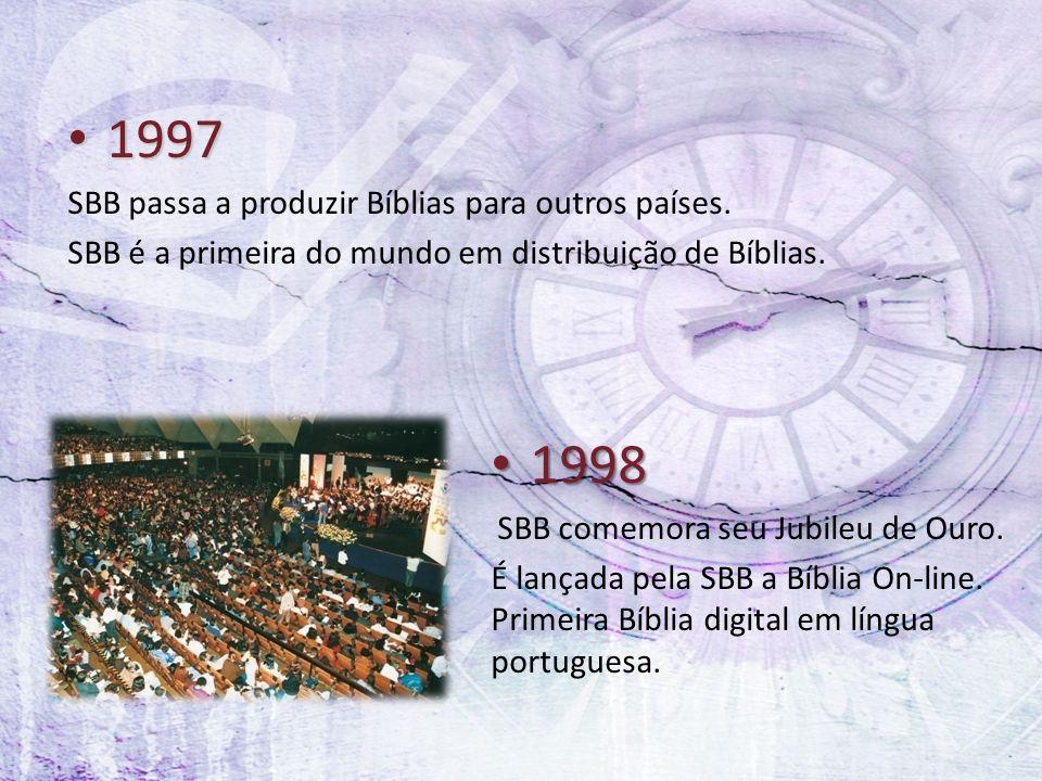 1997 1997 SBB passa a produzir Bíblias para outros países. SBB é a primeira do mundo em distribuição de Bíblias. 1998 1998 SBB comemora seu Jubileu de