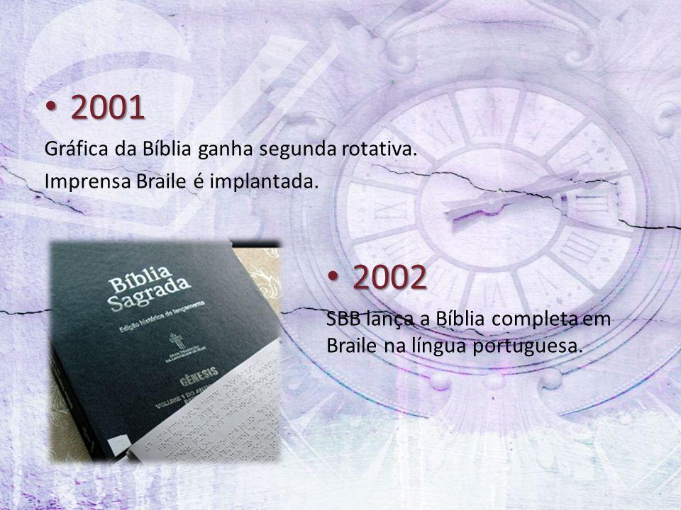 2001 2001 Gráfica da Bíblia ganha segunda rotativa. Imprensa Braile é implantada. 2002 2002 SBB lança a Bíblia completa em Braile na língua portuguesa