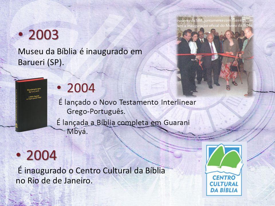 2003 2003 Museu da Bíblia é inaugurado em Barueri (SP). 2004 2004 É lançado o Novo Testamento Interlinear Grego-Português. É lançada a Bíblia completa