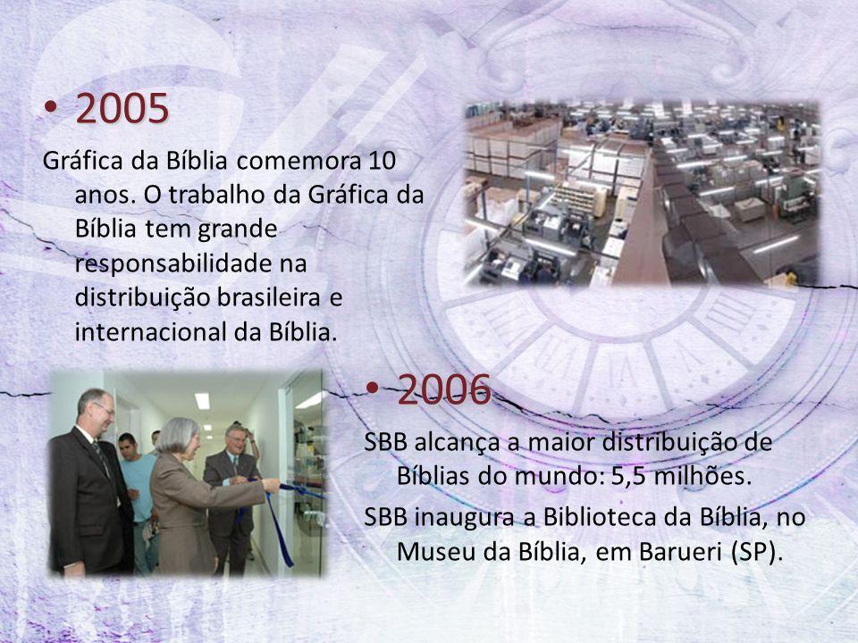 2005 2005 Gráfica da Bíblia comemora 10 anos. O trabalho da Gráfica da Bíblia tem grande responsabilidade na distribuição brasileira e internacional d
