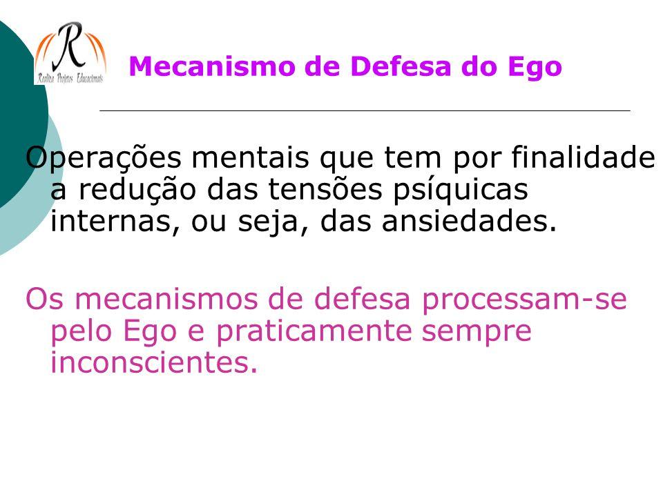 Mecanismo de Defesa do Ego Operações mentais que tem por finalidade a redução das tensões psíquicas internas, ou seja, das ansiedades. Os mecanismos d