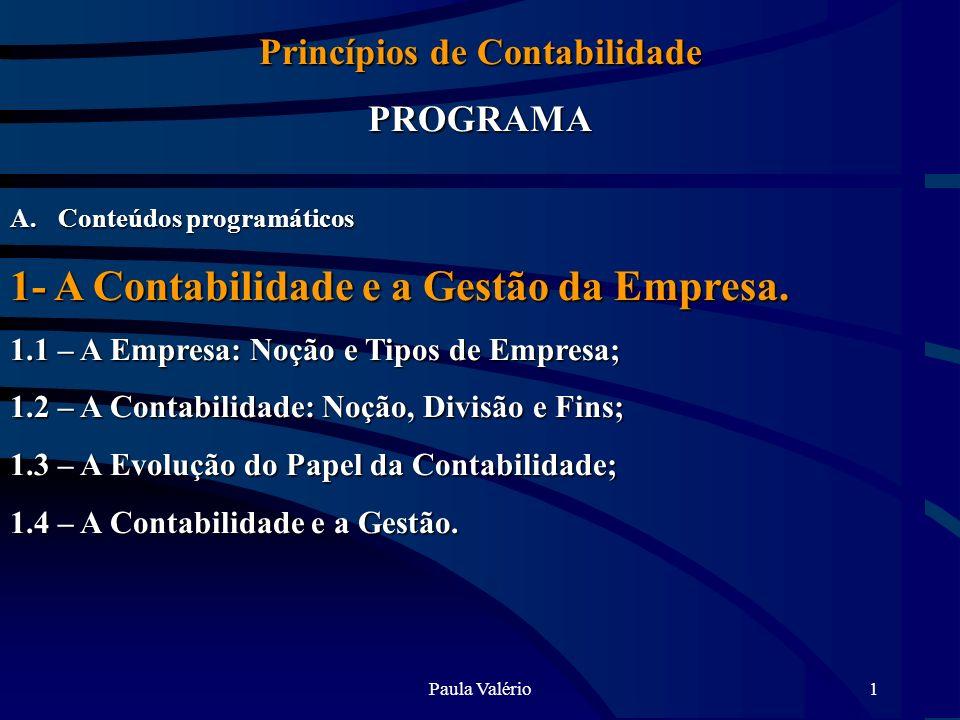 Paula Valério1 Princípios de Contabilidade PROGRAMA A.Conteúdos programáticos 1- A Contabilidade e a Gestão da Empresa. 1.1 – A Empresa: Noção e Tipos
