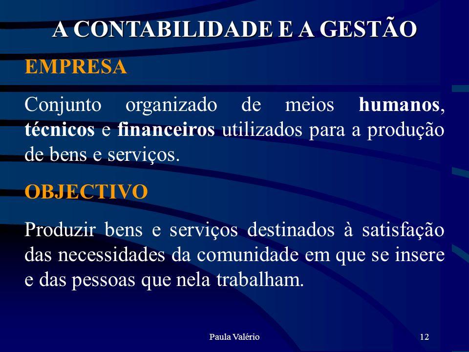 Paula Valério12 A CONTABILIDADE E A GESTÃO EMPRESA Conjunto organizado de meios humanos, técnicos e financeiros utilizados para a produção de bens e s
