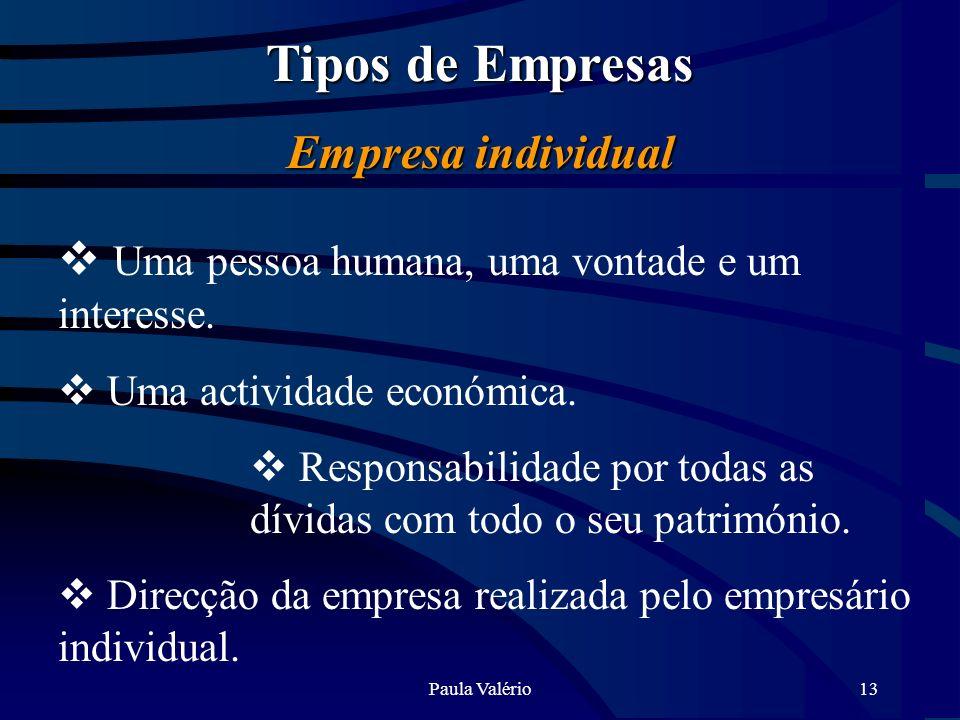 Paula Valério13 Tipos de Empresas Empresa individual Uma pessoa humana, uma vontade e um interesse. Uma actividade económica. Responsabilidade por tod
