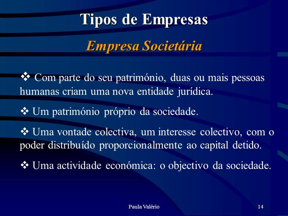 Paula Valério14 Tipos de Empresas Empresa Societária Com parte do seu património, duas ou mais pessoas humanas criam uma nova entidade jurídica. Um pa