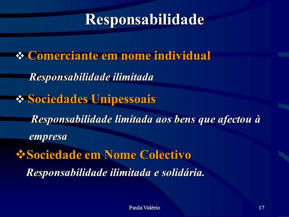 Paula Valério17 Responsabilidade Comerciante em nome individual Comerciante em nome individual Responsabilidade ilimitada Responsabilidade ilimitada S