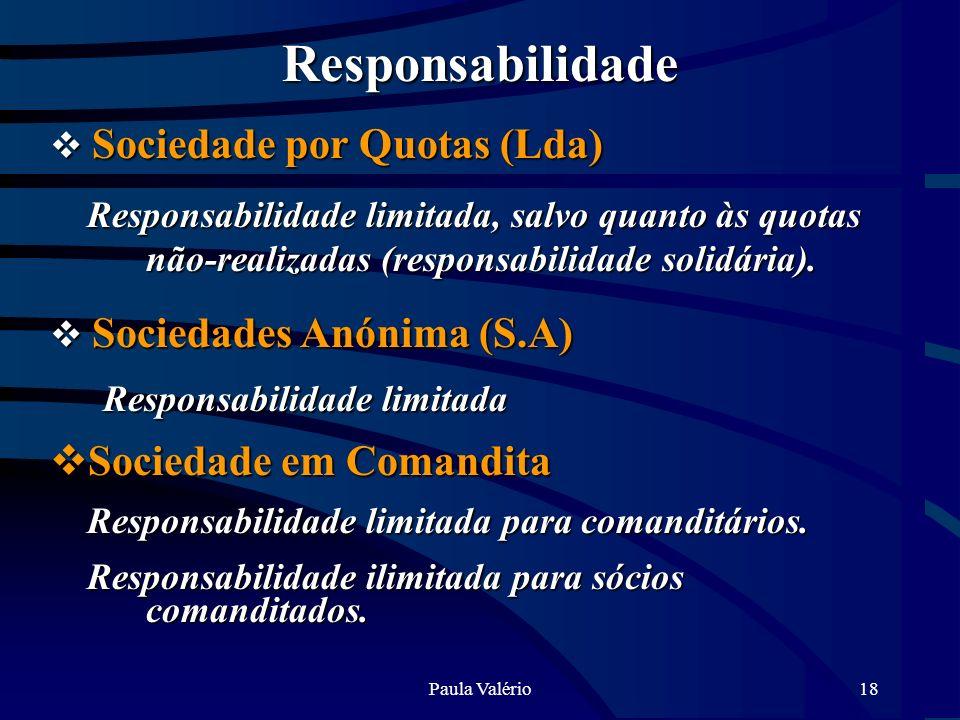 Paula Valério18 Responsabilidade Sociedade por Quotas (Lda) Sociedade por Quotas (Lda) Responsabilidade limitada, salvo quanto às quotas não-realizada