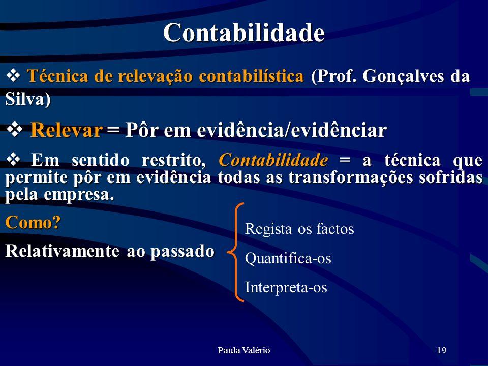 Paula Valério19 Contabilidade Técnica de relevação contabilística (Prof. Gonçalves da Silva) Técnica de relevação contabilística (Prof. Gonçalves da S