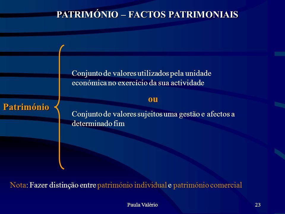 Paula Valério23 PATRIMÓNIO – FACTOS PATRIMONIAIS Património Conjunto de valores utilizados pela unidade económica no exercício da sua actividade ou Co