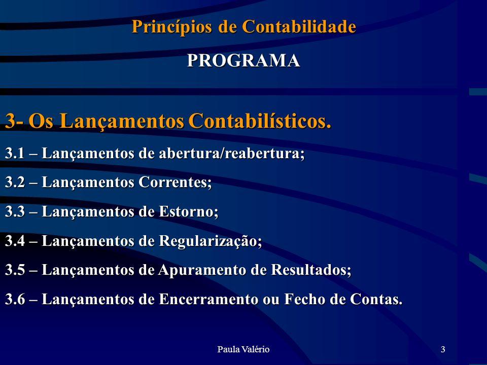 Paula Valério3 Princípios de Contabilidade PROGRAMA 3- Os Lançamentos Contabilísticos. 3.1 – Lançamentos de abertura/reabertura; 3.2 – Lançamentos Cor