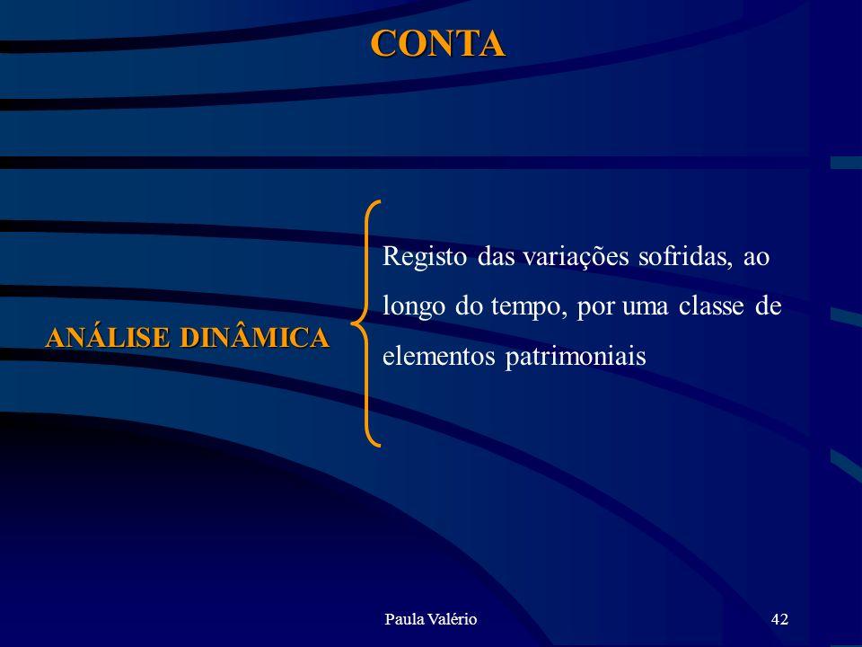 Paula Valério42 CONTA ANÁLISE DINÂMICA Registo das variações sofridas, ao longo do tempo, por uma classe de elementos patrimoniais