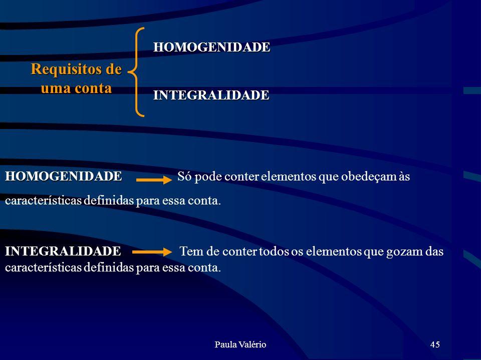 Paula Valério45 Requisitos de uma conta HOMOGENIDADE HOMOGENIDADE Só pode conter elementos que obedeçam às características definidas para essa conta.