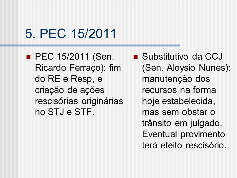 5. PEC 15/2011 PEC 15/2011 (Sen. Ricardo Ferraço): fim do RE e Resp, e criação de ações rescisórias originárias no STJ e STF. Substitutivo da CCJ (Sen