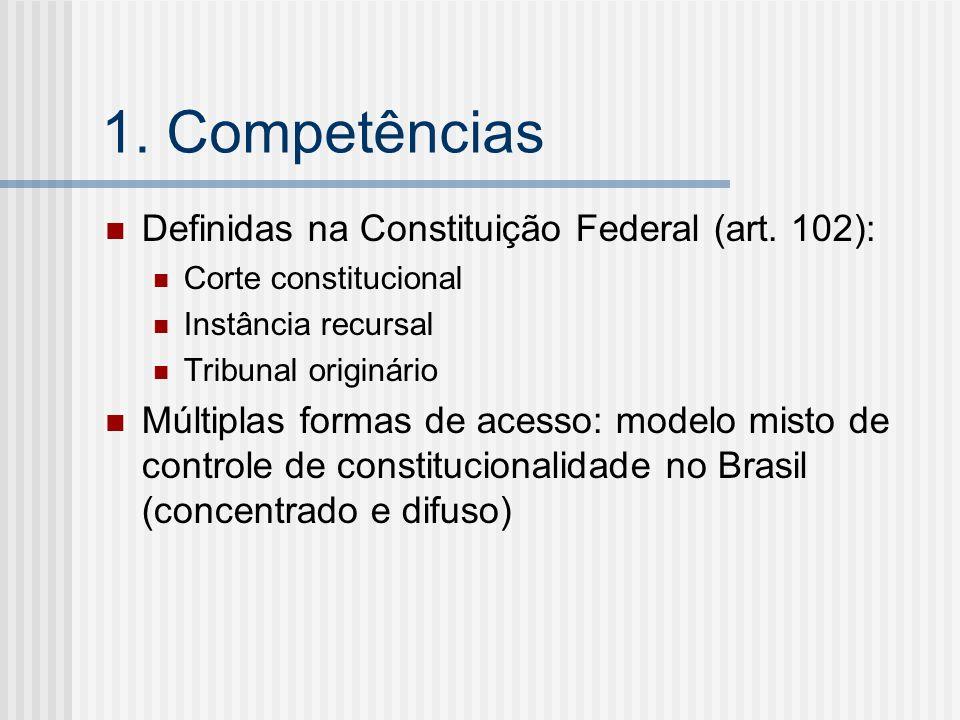 1. Competências Definidas na Constituição Federal (art. 102): Corte constitucional Instância recursal Tribunal originário Múltiplas formas de acesso: