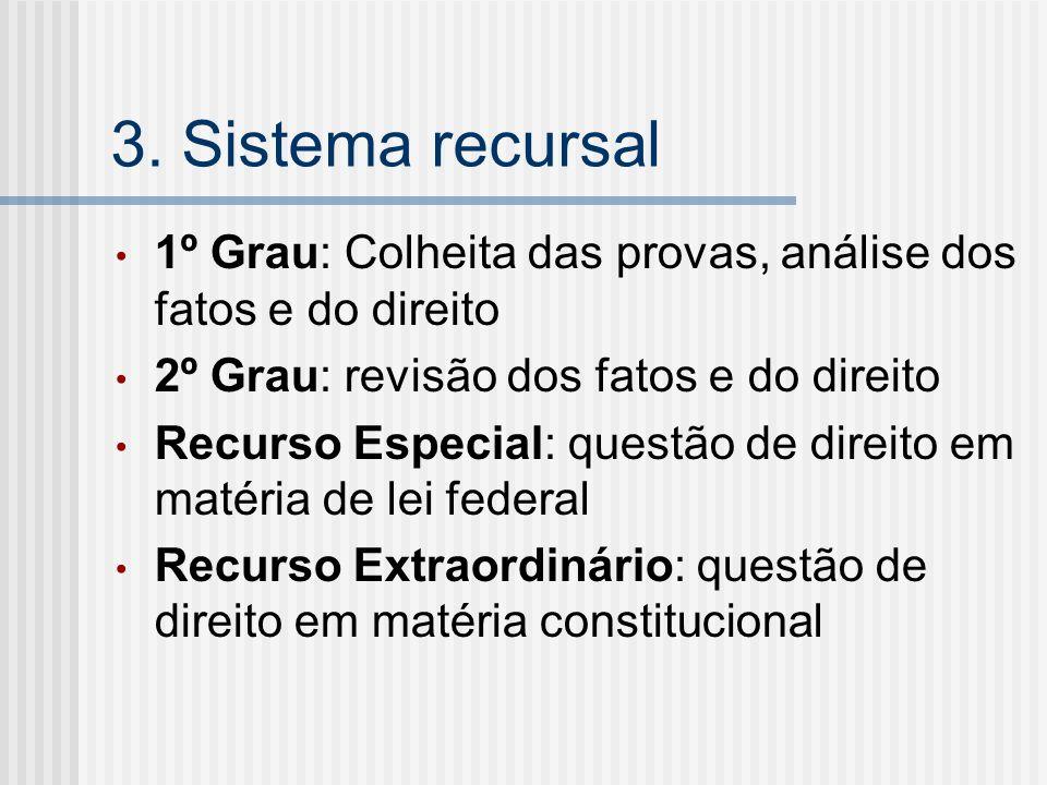 3. Sistema recursal 1º Grau: Colheita das provas, análise dos fatos e do direito 2º Grau: revisão dos fatos e do direito Recurso Especial: questão de