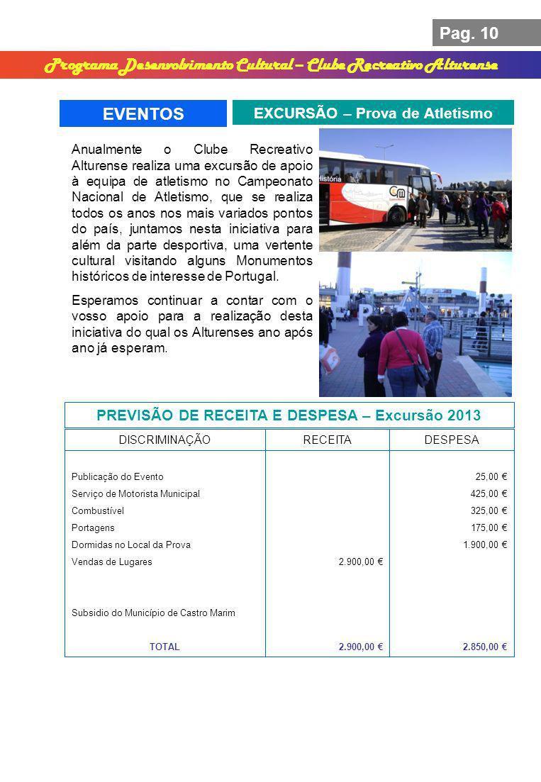 Pag. 10 Programa Desenvolvimento Cultural – Clube Recreativo Alturense EVENTOS EXCURSÃO – Prova de Atletismo PREVISÃO DE RECEITA E DESPESA – Excursão