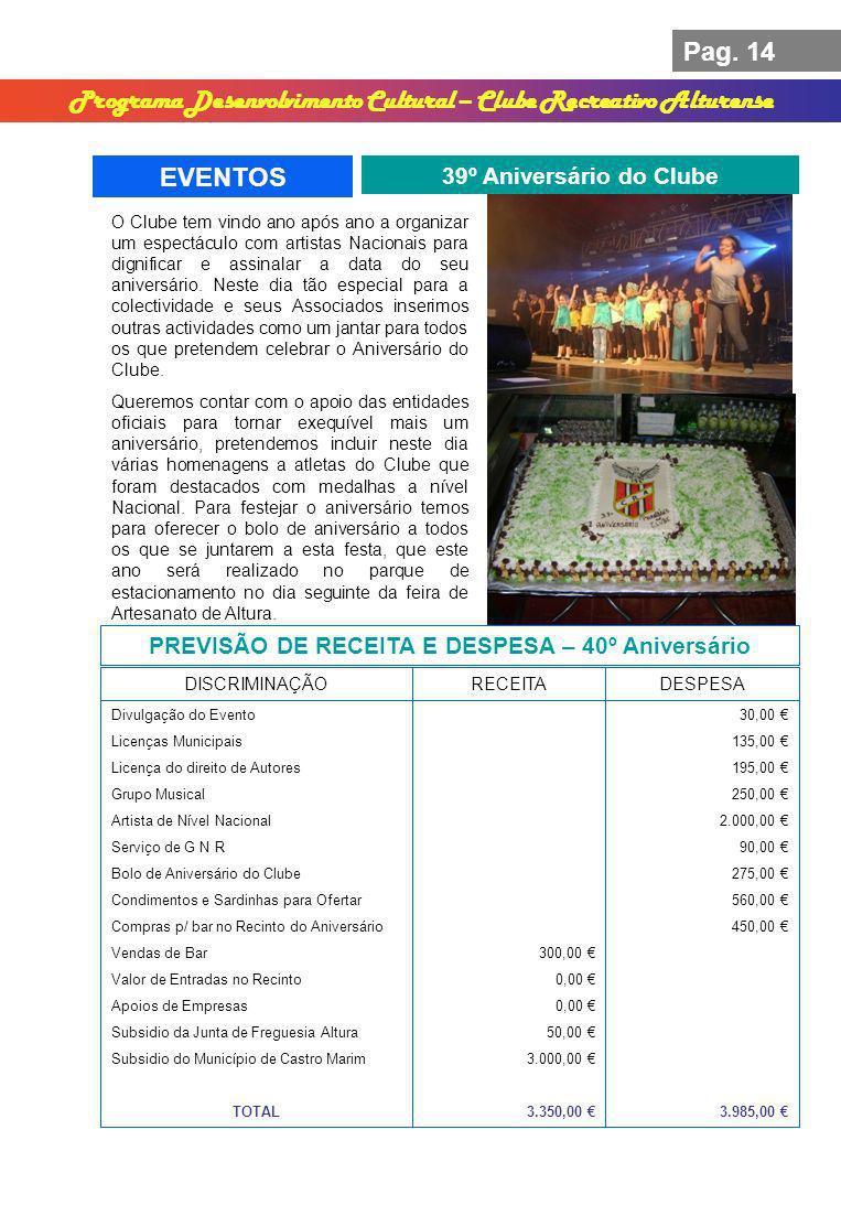 Pag. 14 Programa Desenvolvimento Cultural – Clube Recreativo Alturense EVENTOS 39º Aniversário do Clube PREVISÃO DE RECEITA E DESPESA – 40º Aniversári