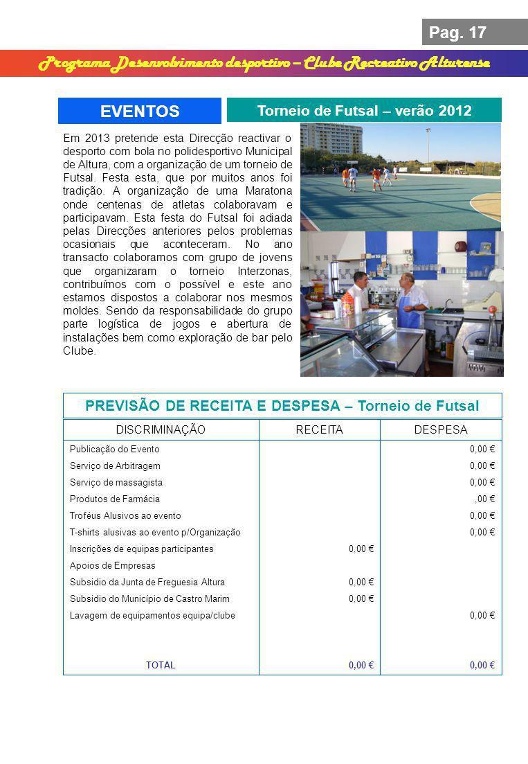 Pag. 17 Programa Desenvolvimento desportivo – Clube Recreativo Alturense EVENTOS Torneio de Futsal – verão 2012 PREVISÃO DE RECEITA E DESPESA – Tornei
