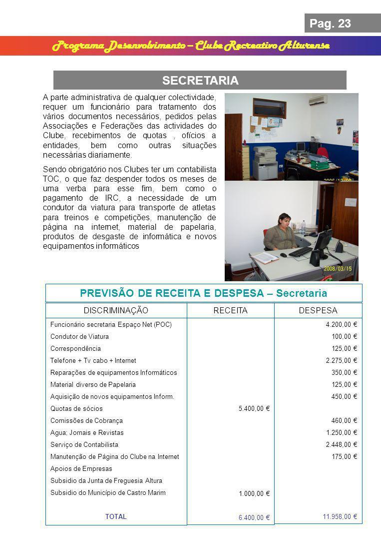 Pag. 23 Programa Desenvolvimento – Clube Recreativo Alturense SECRETARIA PREVISÃO DE RECEITA E DESPESA – Secretaria DISCRIMINAÇÃORECEITADESPESA 5.400,